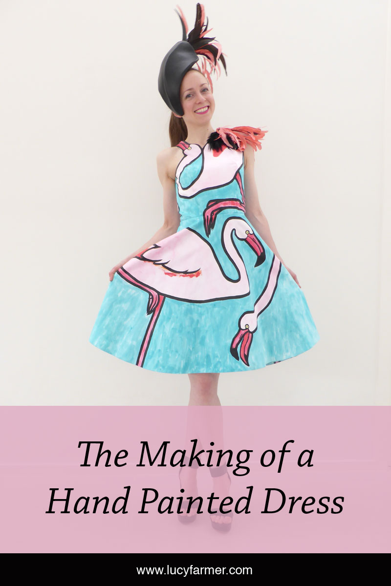 How Australian artist Lucy Farmer made a hand painted dress for the Melbourne Cup