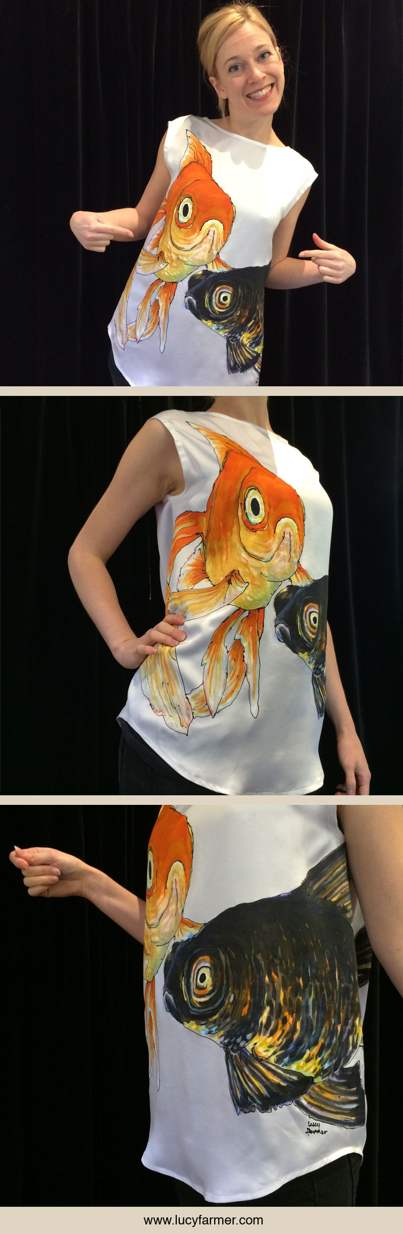 One piece silk top hand painted with gold fish by Lucy Farmer.