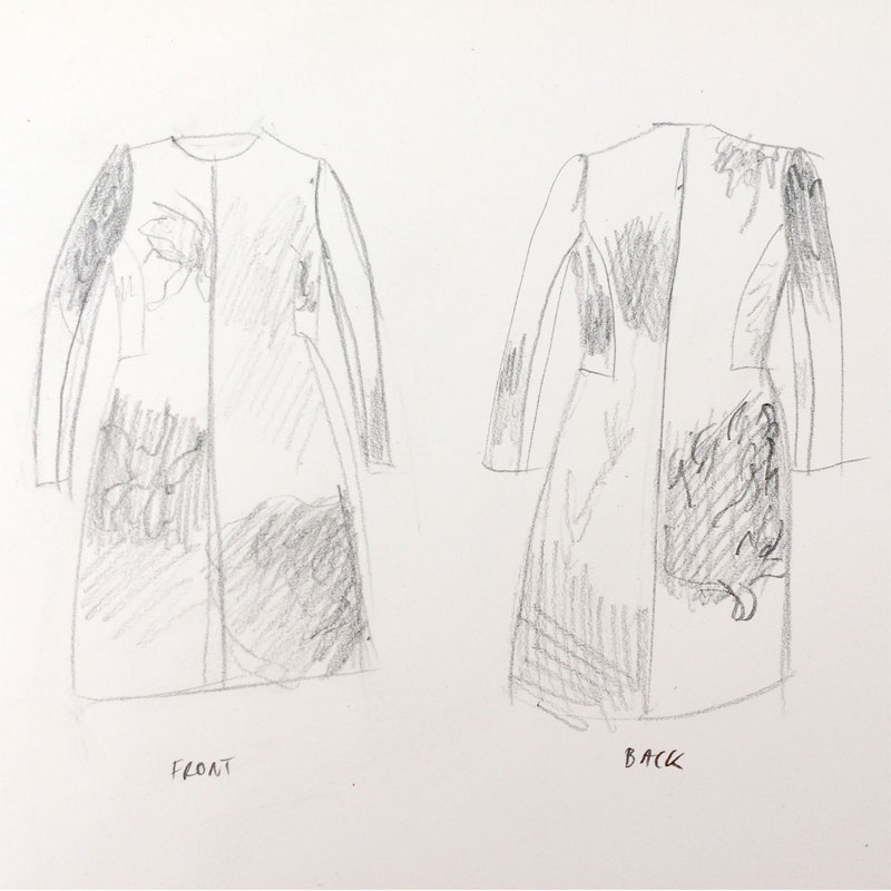 A quick sketch of the dress coat to figure out the placement of the blocks of colour.