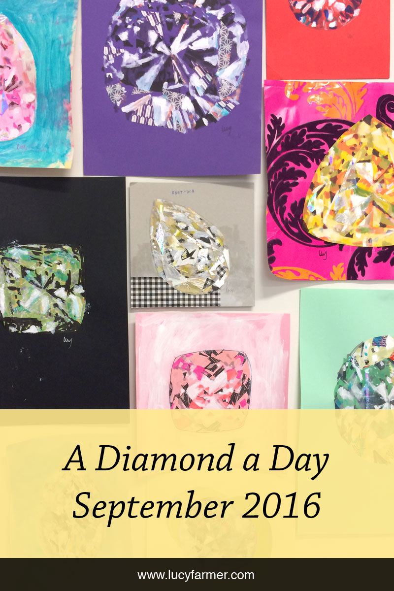A Diamond a Day drawings and collages by Lucy Farmer for September 2016