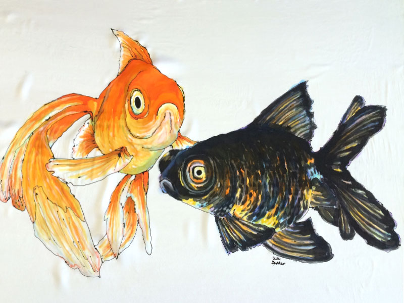 Gold Fish by Lucy Farmer. Hand painted silk using iron set gutta and silk dyes.