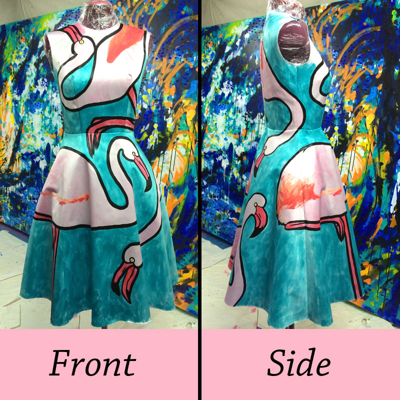 Progress of Lucy Farmer's hand painted flamingo dress. The flamingos wrap all the way around the dress over the side seams.