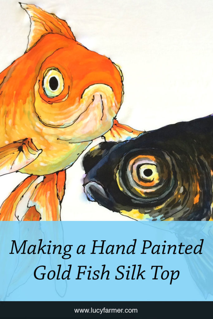 How Lucy Farmer hand painted two gold fish onto a piece of silk which was then turned into a woman's top