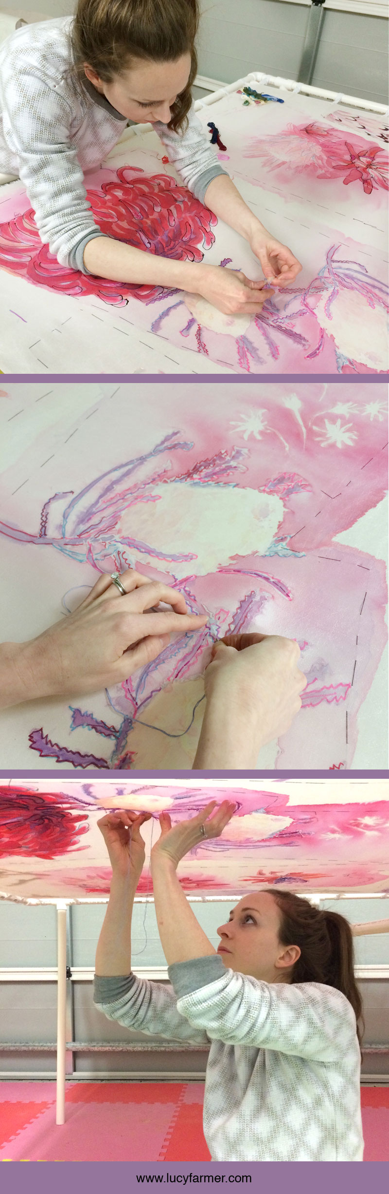 Artist Lucy Farmer hand embroiders her silk paintings to add detail and texture.