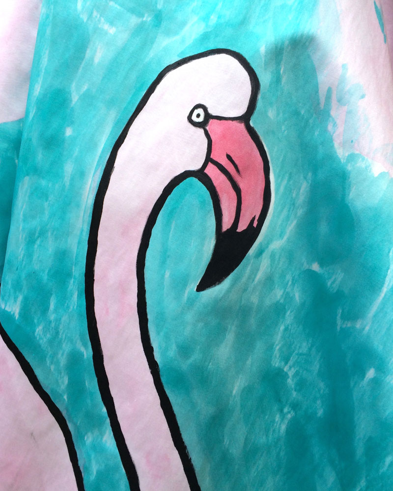 Painting fabric with acrylic paint and silk dyes.