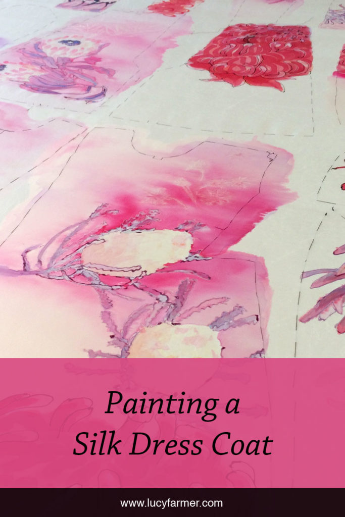 The step-by-step process of painting silk for a specific sewing pattern.