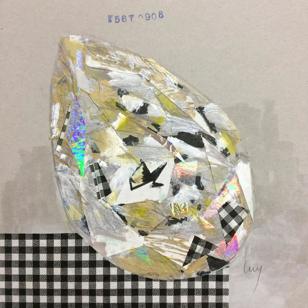 Yellow pear shaped diamond collage by Lucy Farmer