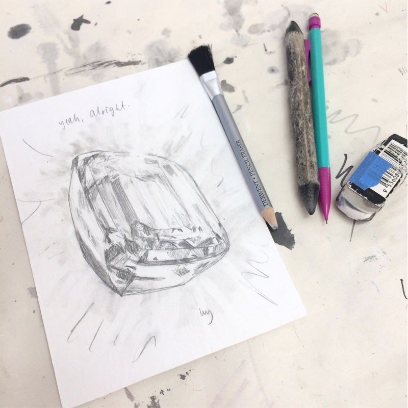 Graphite drawing of an emerald cut diamond by Lucy Farmer.