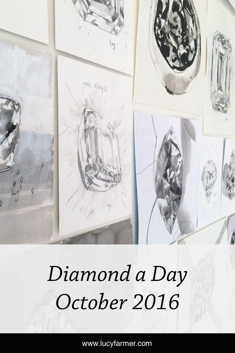 Lucy Farmer's Diamond a Day project, October 2016, Black and White month.