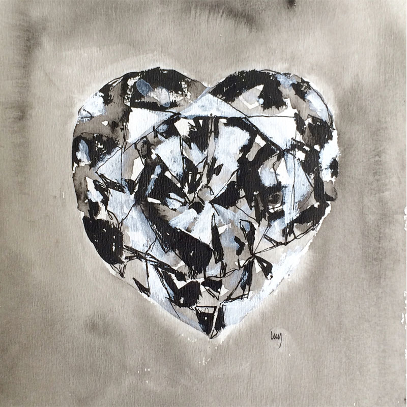 Black and white heart shaped diamond, mixed media on paper by Lucy Farmer.