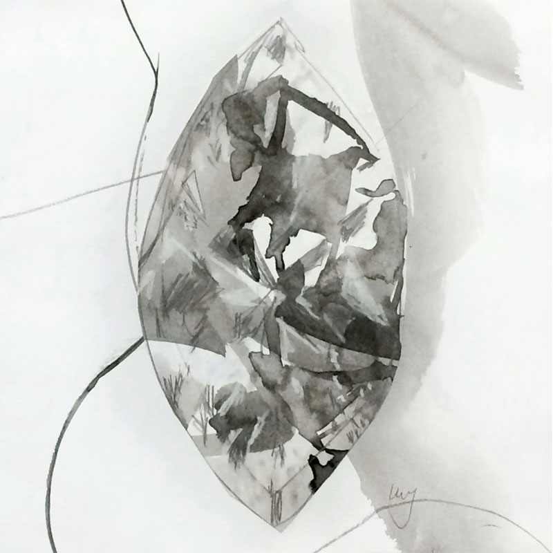 Black and white marquise shaped diamond by Lucy Farmer