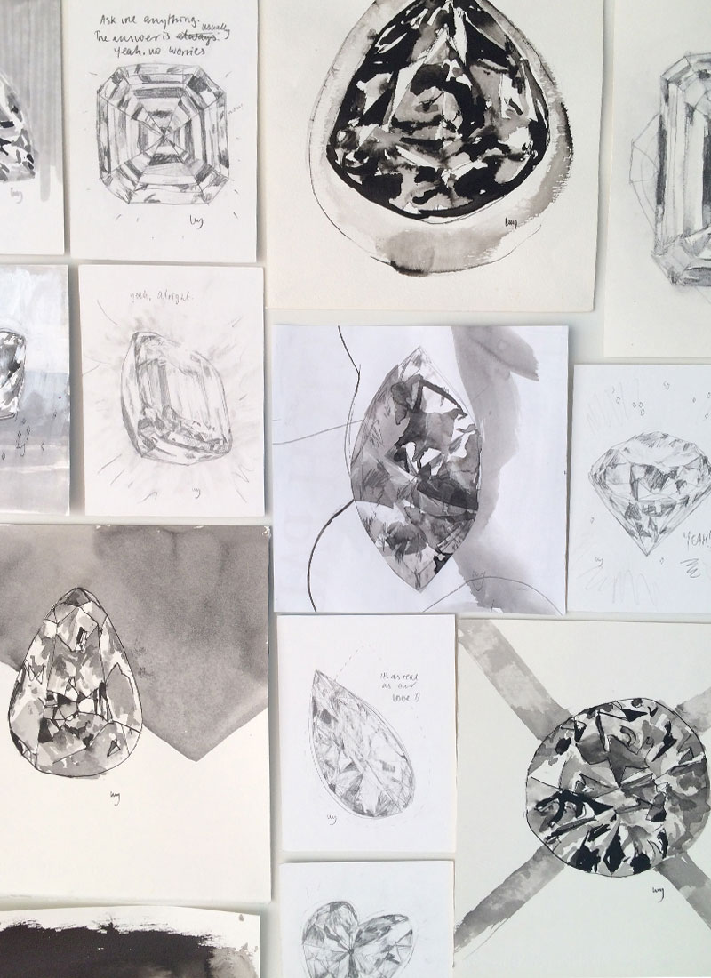 Black and White diamond drawings and collages by Lucy Farmer.