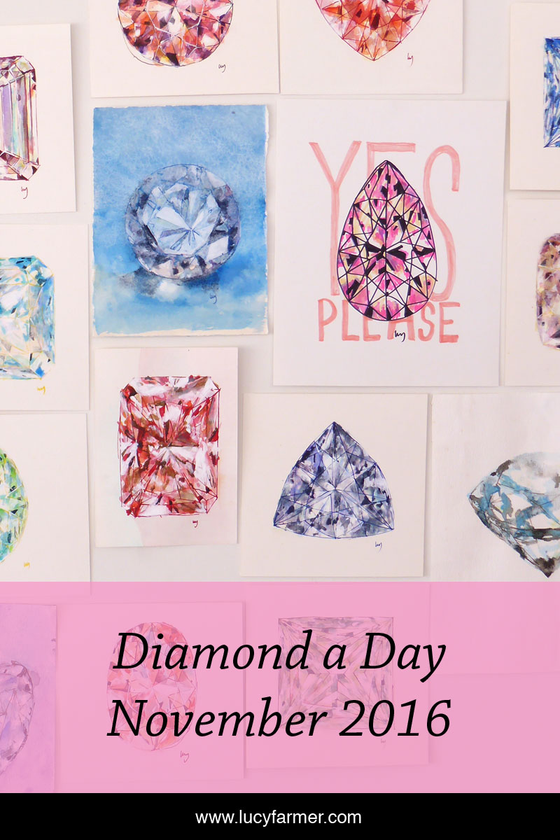 A diamond drawn every day. This month features coloured diamond drawings.