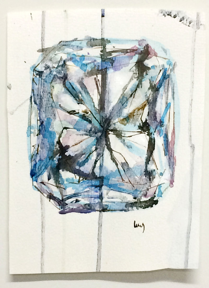 Radiant cut diamond painting by Lucy Farmer
