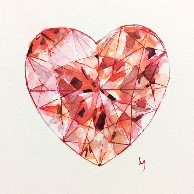 Heart-shaped diamond painting by Lucy Farmer.
