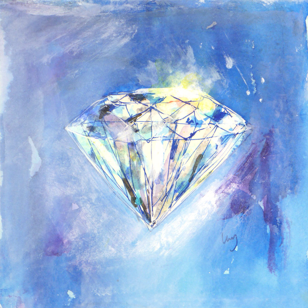 White diamond on a Blue Background. Painting by Lucy Farmer