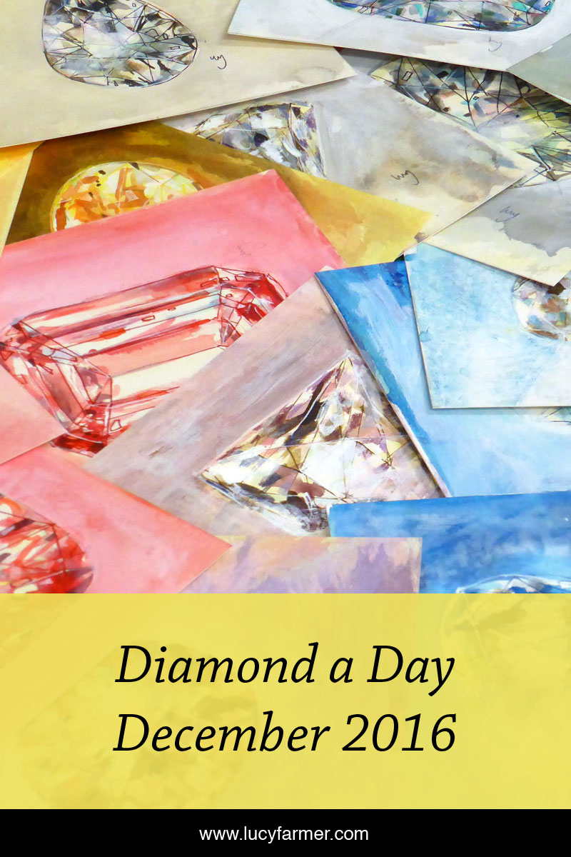 Diamond a Day paintings for December 2016 by Lucy Farmer