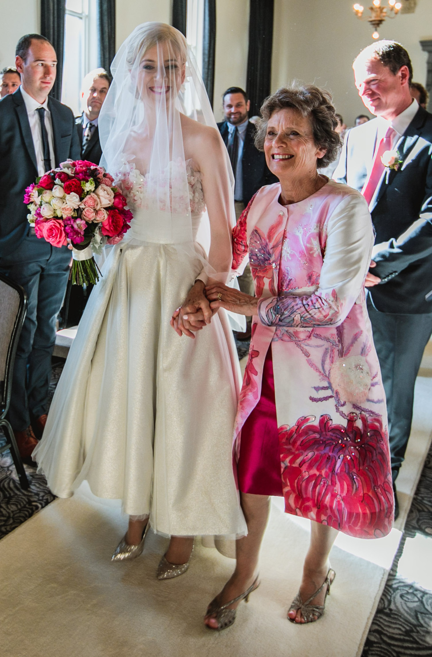 Mother of the Bride pink silk coat and dress