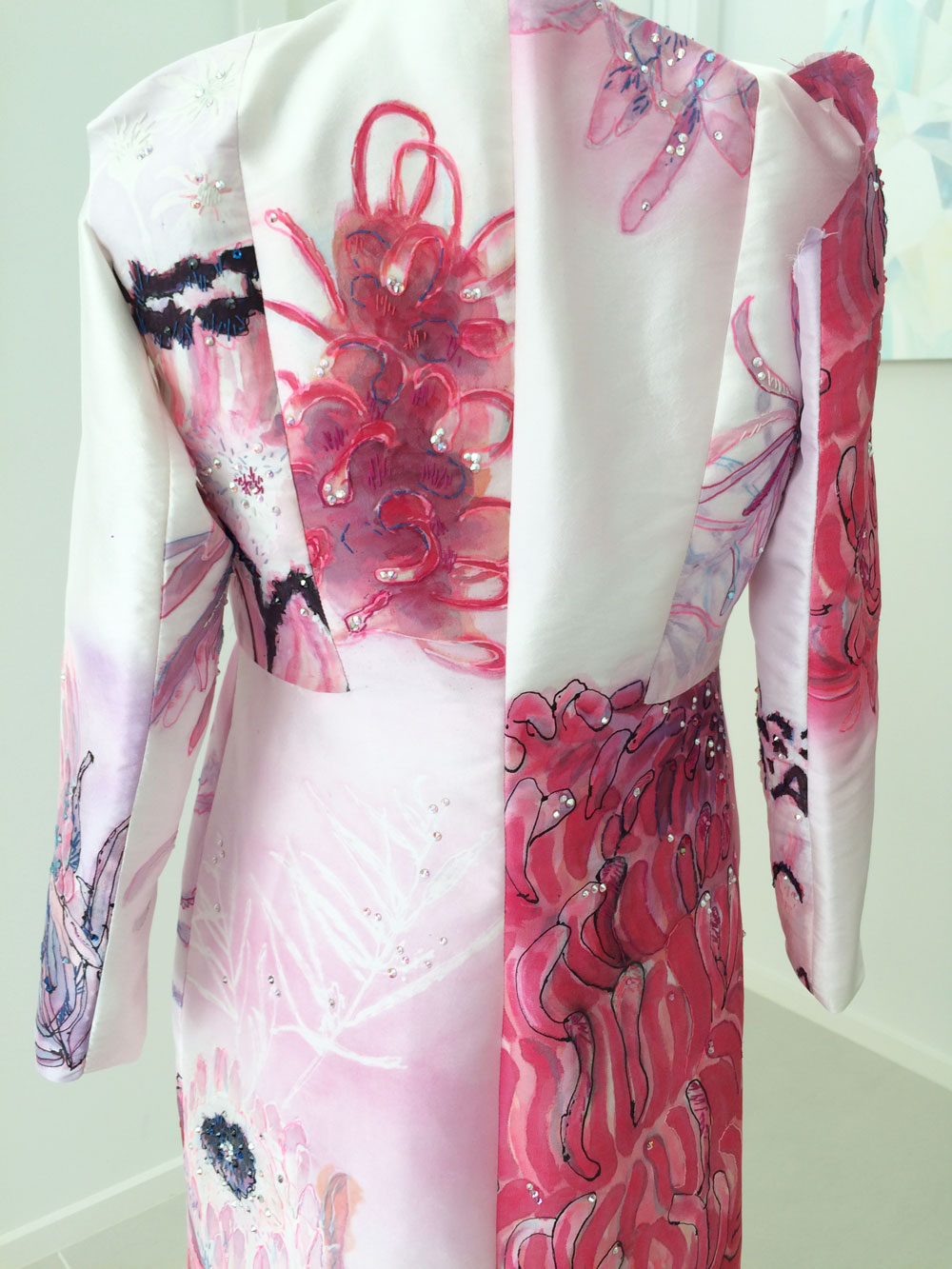 The back of the hand painted silk coat